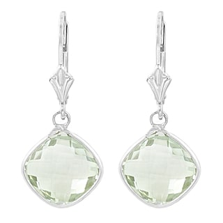 Fremada Sterling Silver Cushion Green Amethyst Drop Earrings