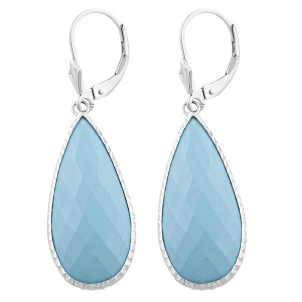 Fremada Sterling Silver Pear-shaped Turquoise Dangle Earrings