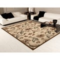 Transitional Medium Petals and Leaves Area Rug (5'3 x 7'4)