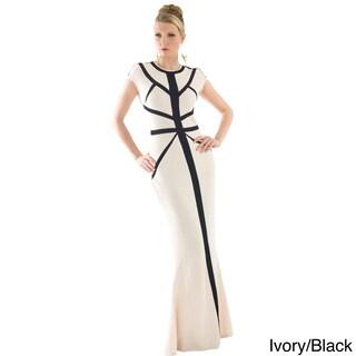 Women's Metallic Trim Long Evening Dress