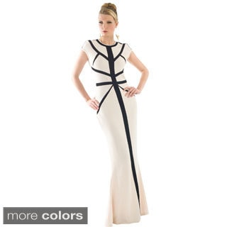 Women's Metallic Trim Long Evening Dress