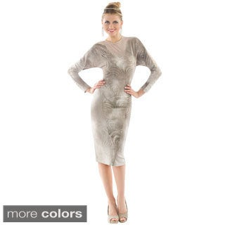 Women's Textured Overlay Straight Evening Dress