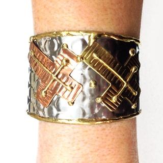 Handmade Stainless Steel Crosses Cuff Bracelet (India)