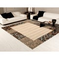 Transitional Beige Damask Border Area Rug (5'3 x 7'4)