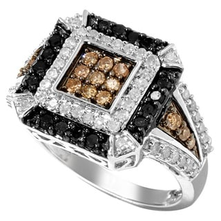 Sterling Silver 1ct TDW Brown, Black and White Tri-color Diamond Ring (H-I, I2-I3)
