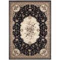 Traditional Black Savonnerie Area Rug (5'3 x 7'4)