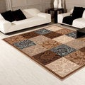 Damask Boxes Blue/ Brown Area Rug (5'3 x 7'4)