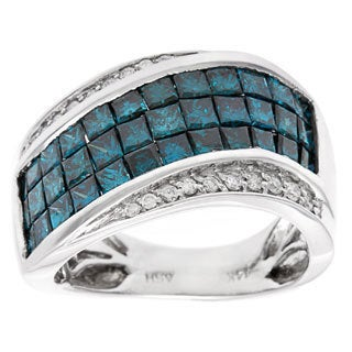 14k White Gold 3 4/5ct TDW Blue and White Diamond Pave Multi-row Ring (H-I, SI1-SI2)