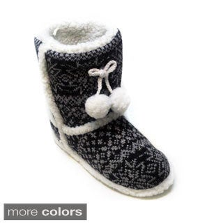 Blue Women's 'Mimi' Fair Isle Slipper Boots