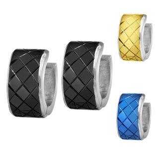 Stainless Steel Grooved Diamond Shaped Grid Hoop Earrings