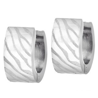 Stainless Steel Zebra Animal Print Stripe Small Hoop Hinge Earrings