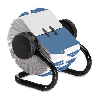 Rolodex Blue Metal Rotary 400-card Capacity Business Card File