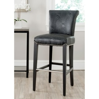 Safavieh Seth Black Crocodile Leather Bar Stool (30 Inches)