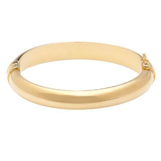 18k Yellow Goldplated Bronze Oval Hinged Bangle Bracelet