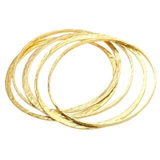 18k Yellow Goldplated Bronze Bangle Bracelets