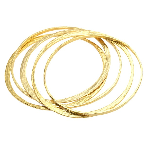 18k Yellow Goldplated Bronze Bangle Bracelets