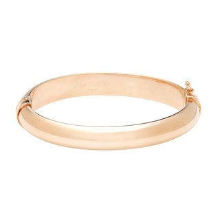 18k Rose Goldplated Bronze Oval Hinged Bangle