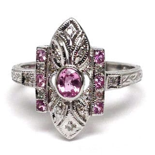 Neda Behnam Diamonds for a Cure 14k White Gold Diamond Accents and Pink Sapphire Vintage Inspired