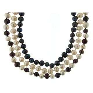 Neda Behnam Soho Boutique Sterling Silver Black/ White Multicolor 3-piece Freshwater Pearl Neclace