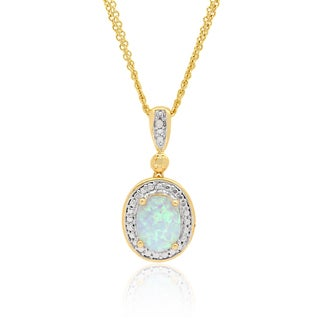Dolce Giavonna 18k Gold Over Sterling Silver Gemstone Diamond Accent Oval Necklace