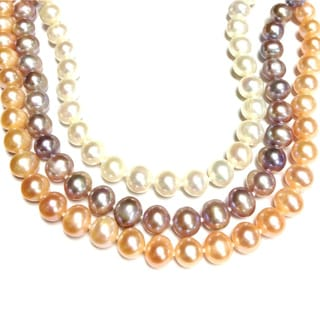 Neda Behnam Soho Boutique Sterling Silver Peach, Lavender and White Round Freshwater Pearl Necklace