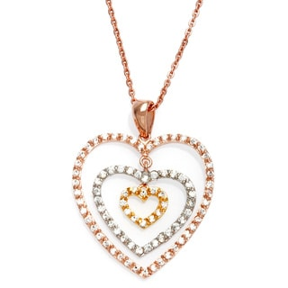 """Sterling Essentials Tri-Color Gold Plated Silver CZ Mobile Heart Necklace (16"""" + 1"""" extension)"""