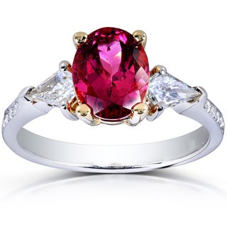 Annello 14k Two-Tone Gold Pink Tourmaline and 2/5ct TDW Diamond Ring (G-H, VS1-VS2)