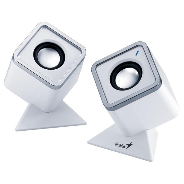 Genius SP-D150 2.0 Speaker System - 4 W RMS - White, Aluminum
