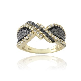 Glitzy Rocks Gold over Silver White Topaz and Champagne Diamond Accent Twist Ring