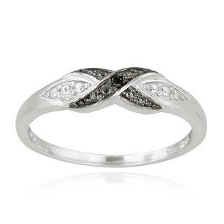 DB Designs Sterling Silver Black Diamond Accent Twist Promise Ring