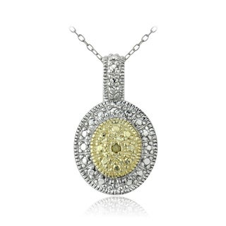 DB Designs Two-tone Silver Yellow Diamond Accent Necklace