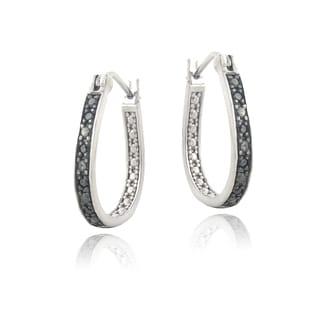DB Designs Sterling Silver 1/10ct TDW Black Diamond Earrings