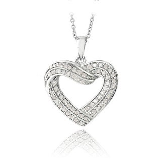 DB Designs Silvertone 1/2 ct TDW Diamond Heart Necklace (I-J, I2-I3)