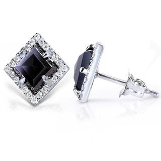 Annello 14k Gold 2 1/2ct TDW Black and White Diamond Earrings