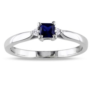 Miadora Silver Created Sapphire and Diamond Accent 3-stone Engagement Ring