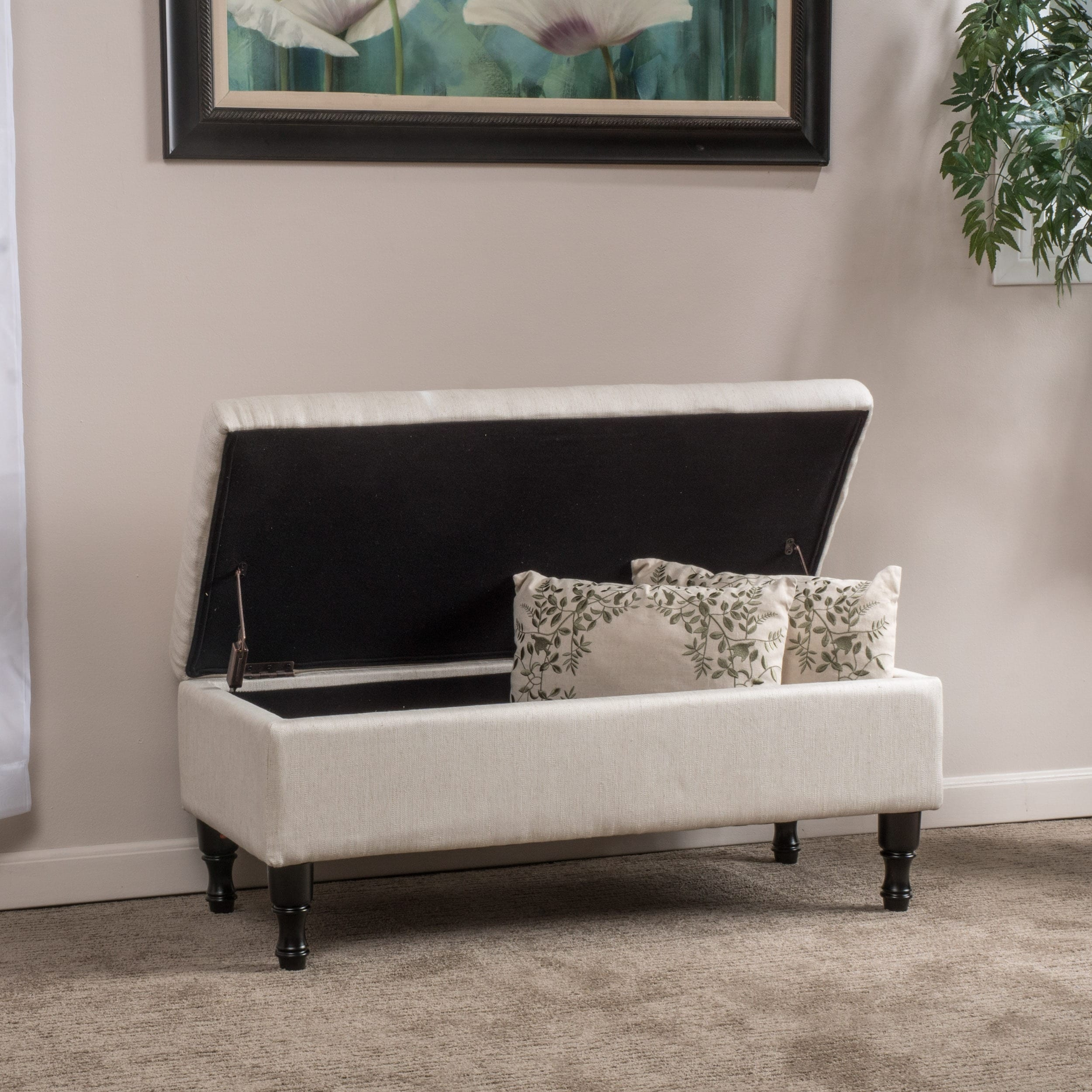 Coffee Table Fabric Storage: Fabric Ottoman Storage Foot Rest Coffee Table Padded Grey