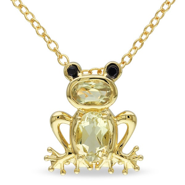 M by Miadora Yellow Flashplated Silver Lemon Quartz Frog Necklace