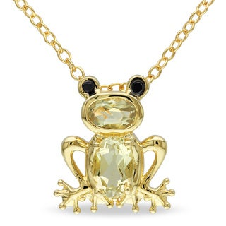 M by Miadora Yellow Flashplated Silver Lemon Quartz Frog Necklace