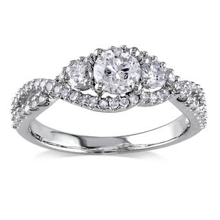 Miadora 14k White Gold 1ct TDW Certified Diamond Engagement Ring