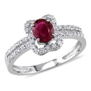 Miadora Signature Collection 14k White Gold 3/4ct Ruby and 1/5ct Diamond Ring (G-H, I1-I2)