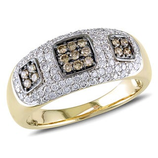 Miadora 14k Yellow Gold 1/2ct TDW Brown and White Diamond Ring