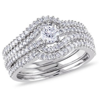 Miadora 14k White Gold 3/4ct TDW Four Row Swirl Diamond Ring (G-H, I1-I2)