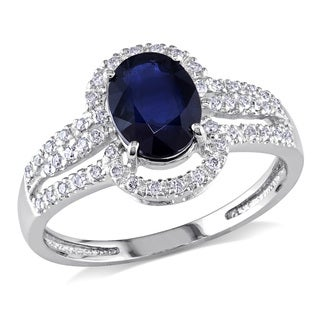 Miadora 14k White Gold 1 1/2ct Sapphire and 1/5ct Diamond Ring (G-H, I1-I2)