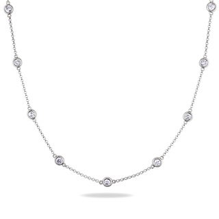 Miadora 14k White Gold 1 5/8ct TDW By-the-Yard Diamond Necklace