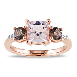 Miadora Rose Flashplated Silver 2ct TGW Morganite, Smokey Quartz and Diamond Accent Ring