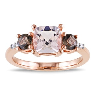 Miadora Rose Flashplated Silver 2ct TGW Morganite, Smokey Quartz and Diamond Accent Ring