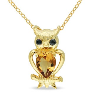 M by Miadora Yellow Flashplated Silver Cognac Quartz Owl Necklace