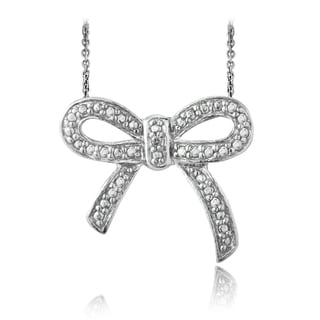DB Designs Sterling Silver Diamond Accent Bow Necklace