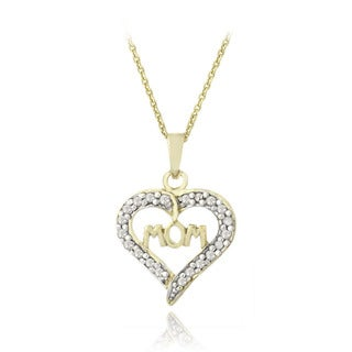 DB Designs 18k Gold Over Silver 1/8ct TDW Diamond Heart Mom Necklace (I-J, I2-I3)