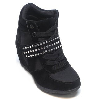 Blue Girls 'K-Ryker Glitz' Black Suede Wedge Sneakers